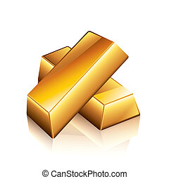Gold bars vector illustration - Gold bars isolated on white...