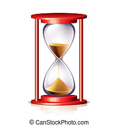 Red transparent hourglass vector illustration - Red...