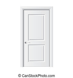 White door vector illustration - White door isolated on...