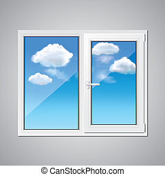 Plastic window and blue sky vector illustration - Plastic...