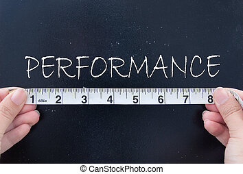 Measuring performance - Tape measurement of the word...
