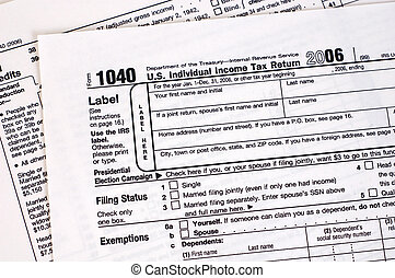 1040 Tax Form (USA) - A US income tax form.
