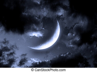 "half moon in the night sky""Elements of this image furnished..."