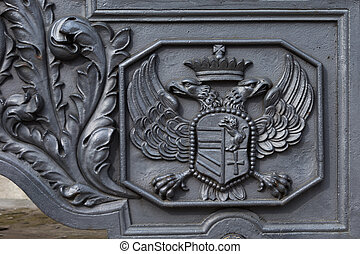 double-headed eagle coat of arms on the old cannon in Moscow...