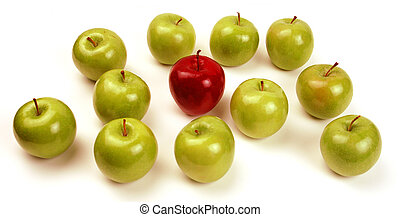 Standing out from the crowd - One Red Apple stands out among...