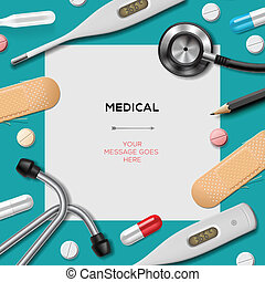 Medical template with medicine equipment, vector Eps10
