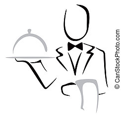 Serving dinner - Elegant waiter bringing dish on a tray