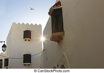 Sunset in the city in Asilah in Morocco