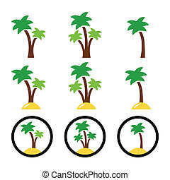 Palm trees, exotic holidays icons - Collection of green palm...