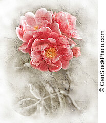 Grunge wall texture with floral background. Romantic pink...