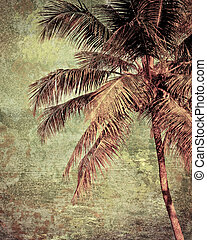 Grunge tropical background with coconut palm tree