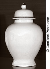 Funeral urn - White funeral urn jar shape complete view...