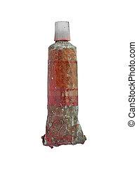 vintage oil paint tube - vintage used red oil paint tube...