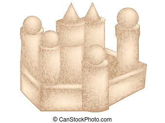 sandcastle isolated on a white background. 10 EPS