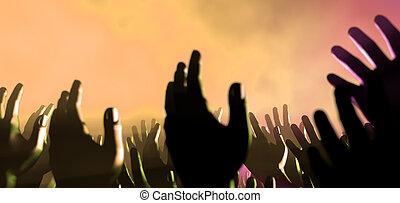 audiência, mãos, e, luzes, em, concerto