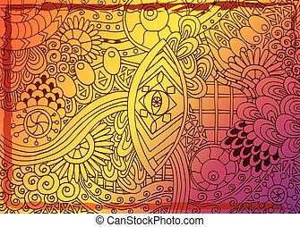 Unique hand drawn abstract vector floral background.