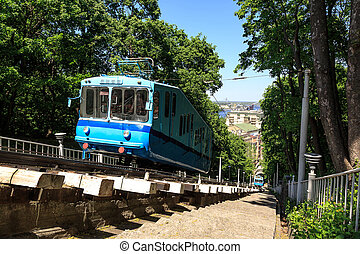 Funicular trains moving on the hill - Cable railway in Kyiv,...