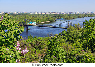Panorama of Kiev, Ukraine. - KIEV, UKRAINE - MAY 07: River...