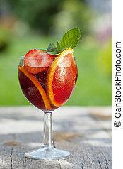 refrescante, fruta, sangría, (punch)