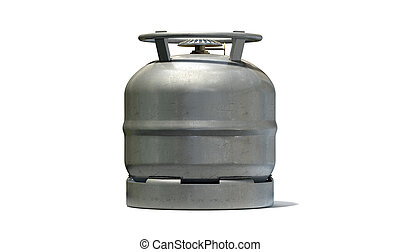 Gas Bottle Burner Stovetop - A regular metal gas bottle with...
