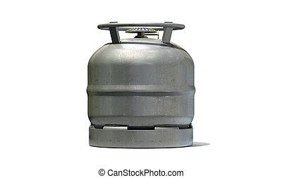 Gas Bottle Burner Stovetop - A regular metal gas bottle with...