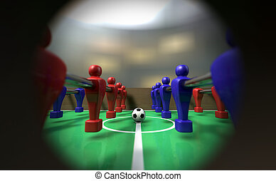 Foosball Table Through A Peephole - A view of a foosball...