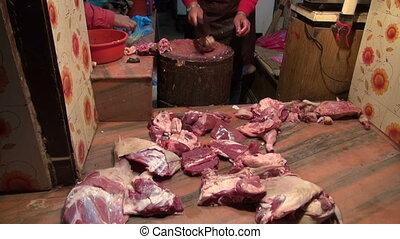cut and sale meat. Katmandu market - cut and sale meat in...