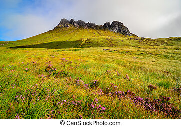 Scenic view of Inverpolly mountain peak Stack Pollaidh in...
