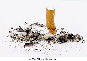 stop smoking on the muffled cigarette on white background
