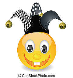 smile in jester hat - colorful illustration with smile in a...