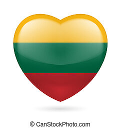 Heart icon of Lithuania - Heart with Lithuanian flag colors....