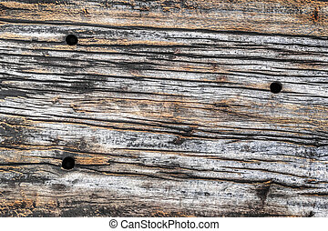 Old Wooden Cross-tie Texture - Old, weathered, rotten wooden...