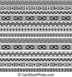 Abstract Ethnic Seamless Geometric Pattern - Abstract Black...