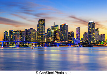 Famous cIty of Miami, Florida, summer sunset, USA
