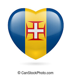 Heart icon of Madeira - I love Madeira. Heart with flag...