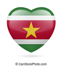 Heart icon of Suriname - Heart with Surinamese flag colors....