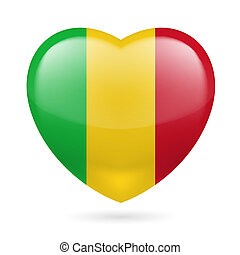 Heart icon of Mali - Heart with Malian flag colors I love...