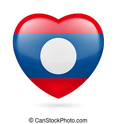 Heart icon of Laos - Heart with Laotian flag colors I love...
