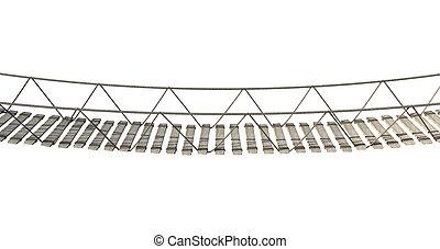 Rope Bridge - A rope bridge made of wooden planks held...