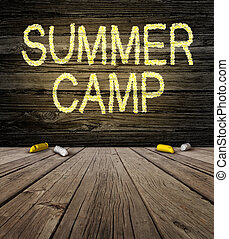 Summer Camp Sign - Summer camp sign with a drawingon a...