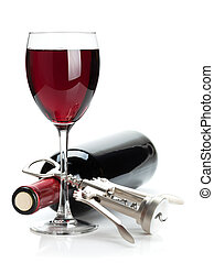 Red wine glass, bottle and corkscrew Isolated on white...