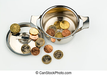 finance crisis - a cooking pot with a few euro coins