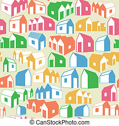 Seamless background with houses - Seamless geometric...