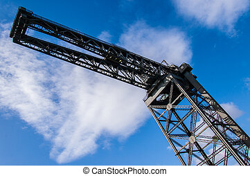 View form below of the Finnieston crane. Glasgow, Scotland,...