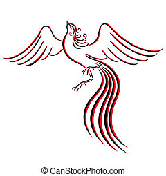 Black and red graceful Firebird contour isolated over white....