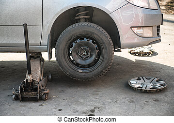 Replacement tires on the car