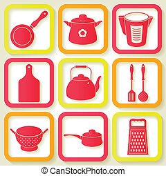 Set of 9 icons of kitchen utensils