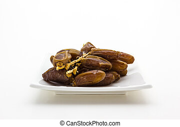 Date palm fruit in the plate