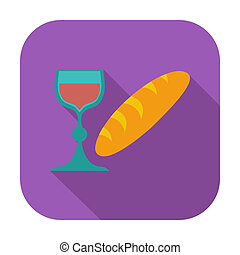 Bread and wine single icon Vector illustration