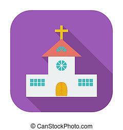 église, unique, plat, icône